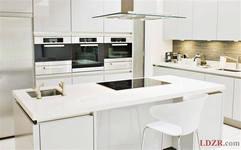 Modern Kitchen With White Cabinets Small Kitchen With Modern White Furniture Home Design And Ideas