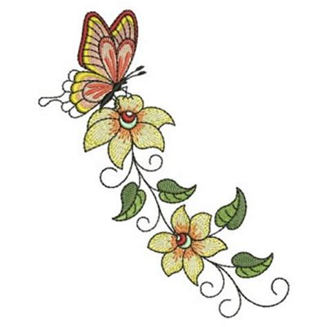 Bv4765ls Embroidery Flower And Butterfly sweet heirloom embroidery design butterfly flower border