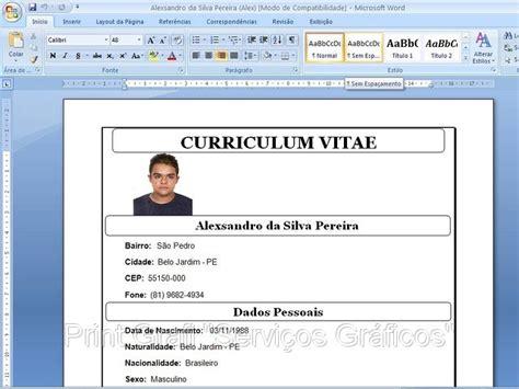 Modelo Curriculum Vitae Word Con Foto curriculum vitae curriculum vitae para editar