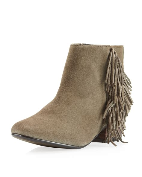 ankle boots with fringe kelsi dagger trilogy fringe ankle boot in brown taupe lyst