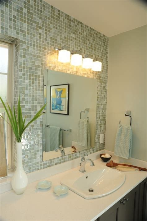 mosaic tile around bathroom mirror tile behind mirror to the ceiling bathroom update