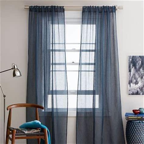 dark blue sheer curtains sheer linen window panel regal blue westelm dye the