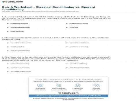 Applying Classical Conditioning Worksheet Answers