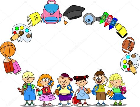 imagenes materias escolares dibujos animados estudiantes y materias escolares marco