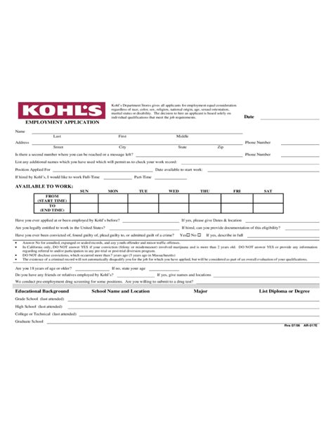 Store Credit Application Form Image Gallery Kohl S Application