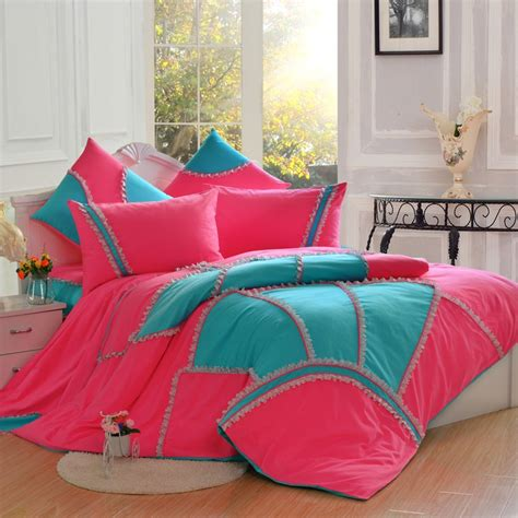 pink and blue bedding rose pink blue gilrs pastroal princess lace ruffle floral