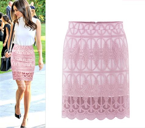 embroidered floral lace pencil skirt black white pink