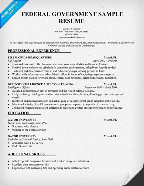 Writing Your Federal Resume Federal Resume Writing Service Template