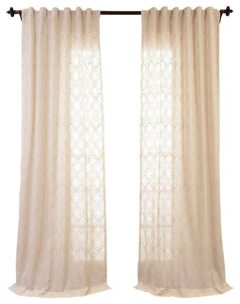 transitional curtains saida natural embroidered faux linen sheer curtain single