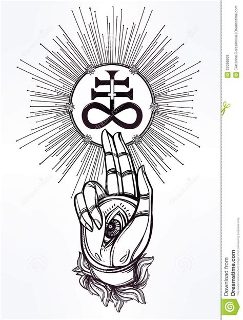 handwith eye of providence and satanic cross stock vector