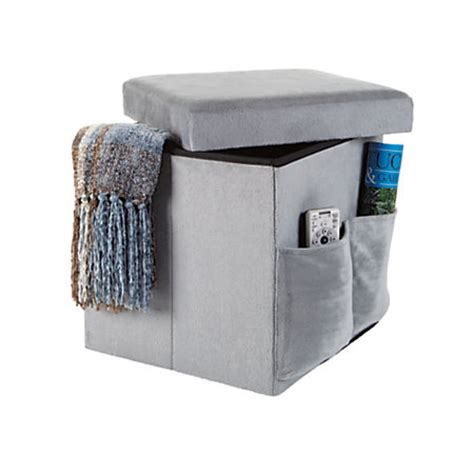 Orbit Sit And Store Folding Storage Ottoman Gray By Office
