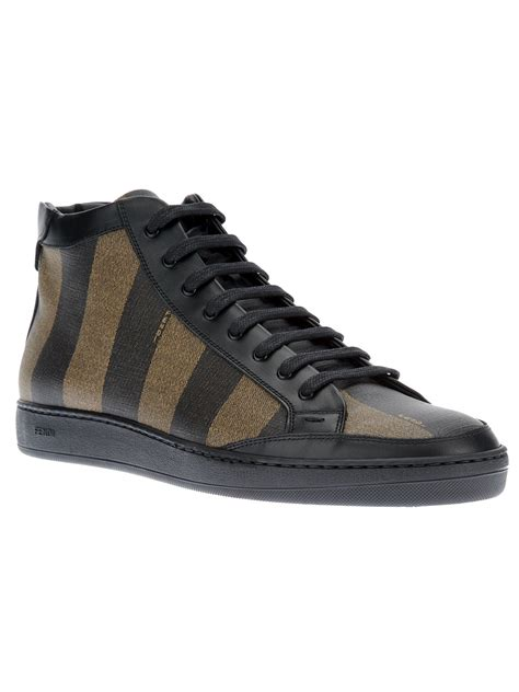 fendi sneakers fendi striped laceup sneaker in black for tobacco lyst
