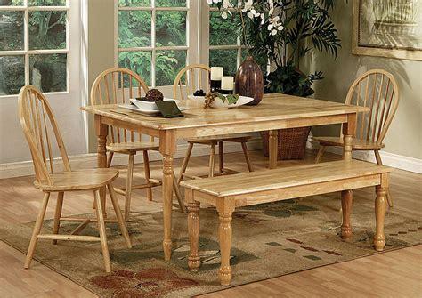 Butcher Block Dining Table Set Oak Furniture Liquidators Butcher Block 6 Farm Dining Set W Bench