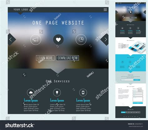 flat design header size responsive landing page or one page website template in