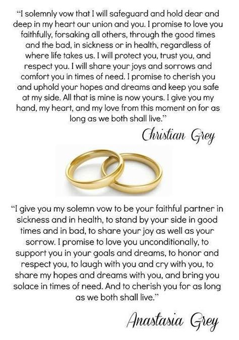 Wedding Vows Christian by Christian Vows Fifty Shades Of Grey