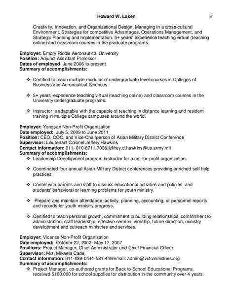 An Mba But Want To Teach As Adjunct by Howard Loken S Adjunct Assistant Professor Resume 2016