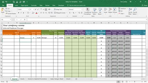 Compensation Spreadsheet Template Salary Increase Template Excel Compensation Metrics Calculations