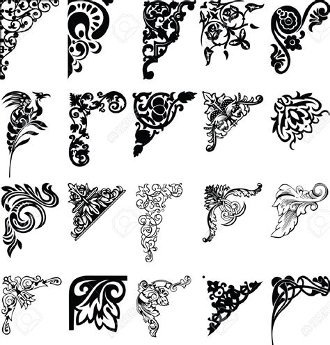 pattern design element set of twenty one color corners elements of design