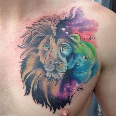 30 lion chest tattoo design ideas