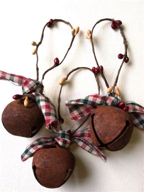 free shipping 6 primitive christmas ornaments rusty