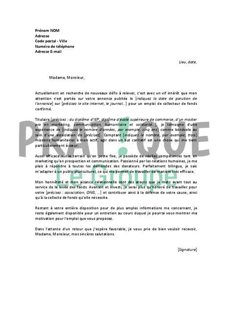 Lettre De Motivation Benevole Croix Lettre De Motivation Pour Un Emploi De Collecteur De Fonds Confirm 233 Pratique Fr