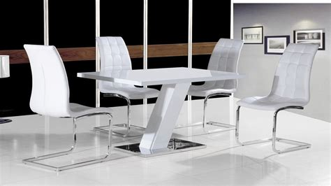 White Dining Table With Chairs White High Gloss Dining Table Set And 4 Chairs With Chrome Base Ebay