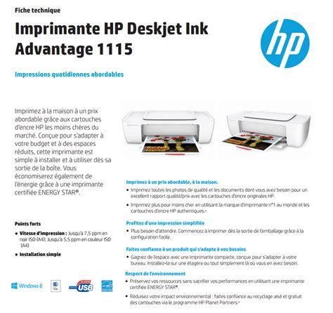 Hp Deskjet 1115 Ink Advantage F5s21b imprimante hp deskjet ink advantage 1115 f5s21c iris ma maroc