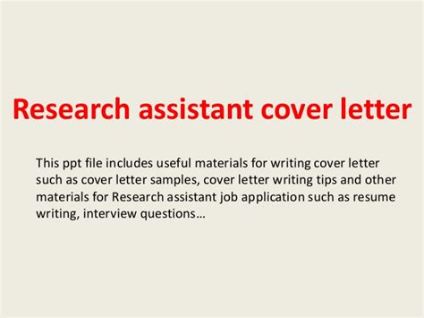 Research Assistant Letter Of Recommendation Research Assistant Cover Letter