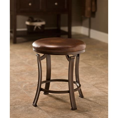 Hastings Antique Bronze Backless Vanity Stool Hillsdale Vanity Stool Bathroom