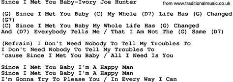 country music lyrics i love you joe country music since i met you baby ivory joe hunter lyrics