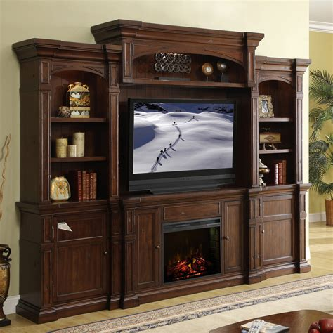 Electric Fireplace Wall Unit Legends Berkshire Entertainment Center Old World Umber
