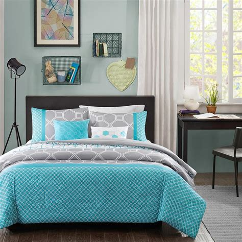 Teal Queen Comforter Set Modern Blue Grey Teal Aqua Chevron Stripe Boys Comforter