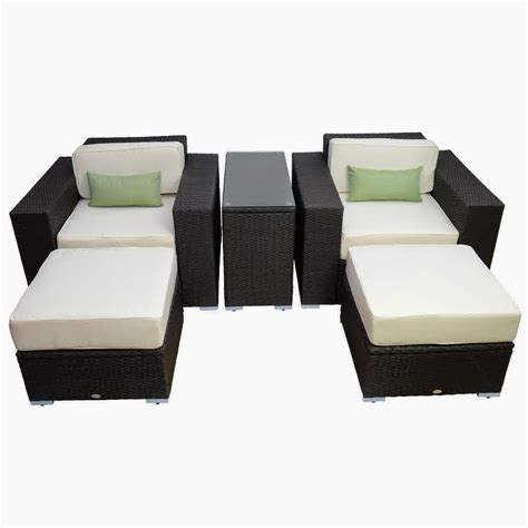 outdoor wicker lounge furniture discount until 60 outsunny 5pc outdoor pe rattan wicker lounge chair patio furniture set