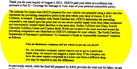 Insurance Companies Misleading Letters Repairer Misleading N C Insurance Faq Used By Geico To Dispute Auto Rate Repairer