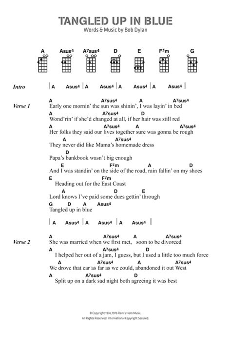 blue ukulele song lyrics tangled up in blue sheet by bob ukulele