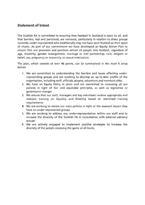 Letter Of Intent Equity Scottish Fa Equity Statement Of Intent