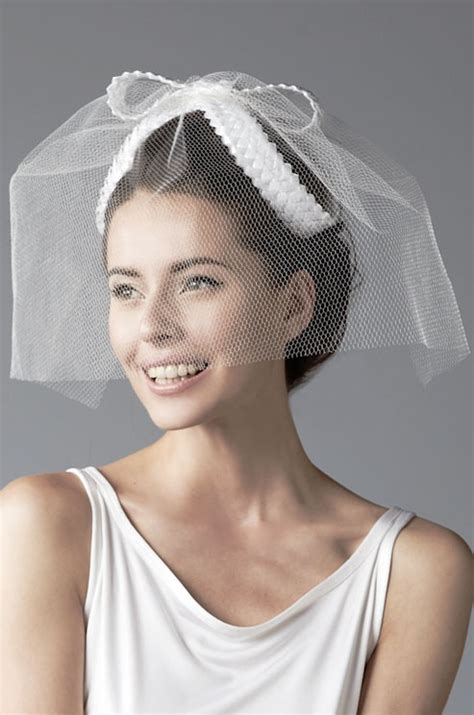 wedding hats with braids honeycomb tulle birdcage wedding veil with rocello braid