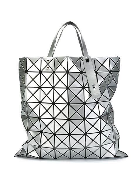 geometric pattern tote bag bao bao issey miyake geometric pattern tote bag in gray lyst