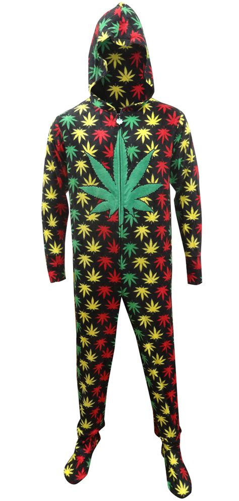 onesie pajamas webundies rasta themed ganja leaf cozy footie onesie pajamas with