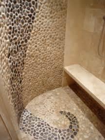River Rock Bathroom Ideas Travertine Amp River Rock Shower