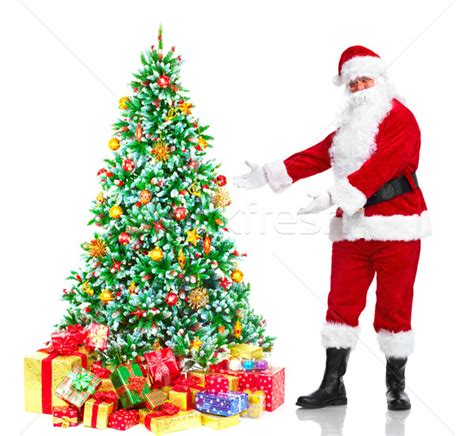 santa claus and tree stock photo 169 kurhan 1433087 stockfresh