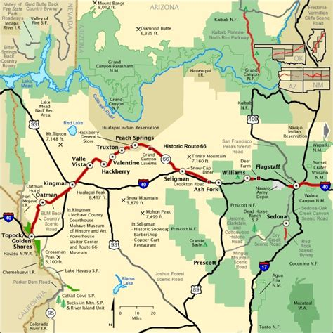 map of usa route 66 map of route 66 in western arizona route 66
