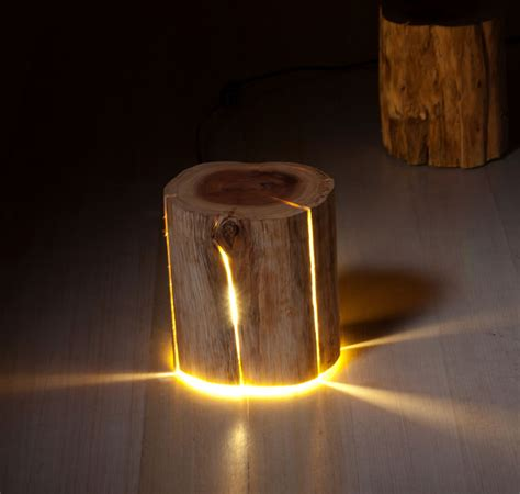 Stump Light: A Cracked Log That Was Made Into A Lamp