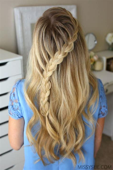 everyday hairstyles half up half up diagonal french braid hair tutorial hair