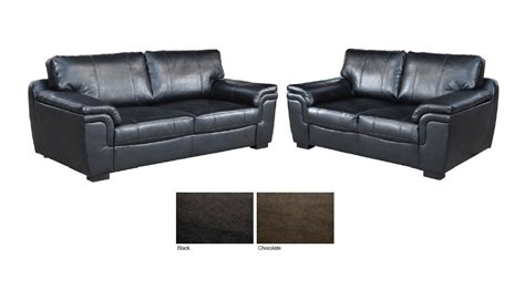 3 And 2 Seater Leather Sofas by New 3 2 Seater Sofa Suite Brown Or Black Leather Homegenies