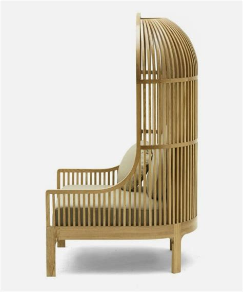 Bird Cage Chair by Timber High Back Seat Resembling Partial Bird Cage Nest