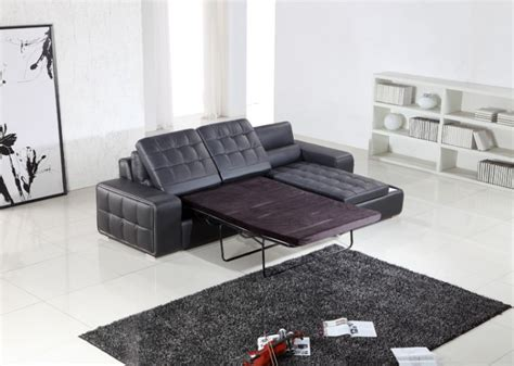 t225 modern black leather sectional w pull out sofa bed