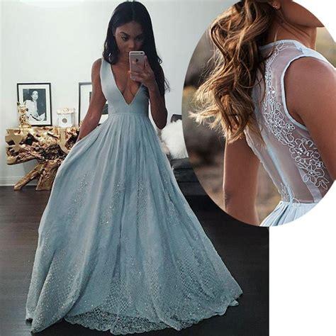 Enfocus Blue Flowers Vneck Dress Original new design light blue v neck prom dress a line formal gown with sheer back 183 beloves