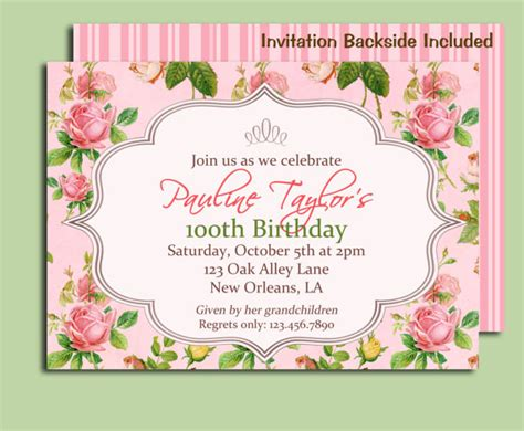 printable garden party decorations antique rose invitation printable or printed with free