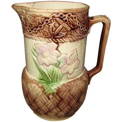 lovely antique majolica pitcher floral  anchor pitcher  tomjudy  ruby lane